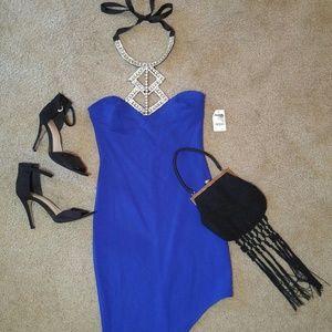 Blue Asymmetrical Party Dress. Charlotte Russe XS